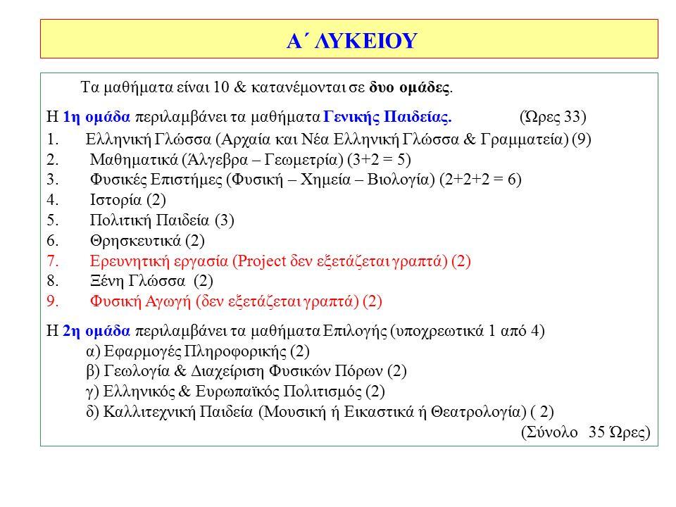 Tα μαθήματα είναι 10 & κατανέμονται σε δυο ομάδες. Η 1η ομάδα περιλαμβάνει τα μαθήματα Γενικής Παιδείας. (Ώρες 33) 1.Ελληνική Γλώσσα (Αρχαία και Νέα Ε
