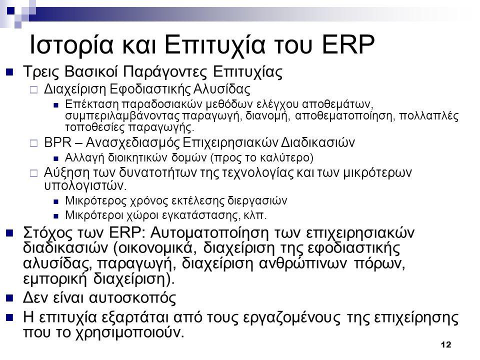 12 Ιστορία και Επιτυχία του ERP Τρεις Βασικοί Παράγοντες Επιτυχίας  Διαχείριση Εφοδιαστικής Αλυσίδας Επέκταση παραδοσιακών μεθόδων ελέγχου αποθεμάτων