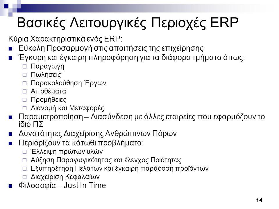 14 Βασικές Λειτουργικές Περιοχές ERP Κύρια Χαρακτηριστικά ενός ERP: Εύκολη Προσαρμογή στις απαιτήσεις της επιχείρησης Έγκυρη και έγκαιρη πληροφόρηση γ
