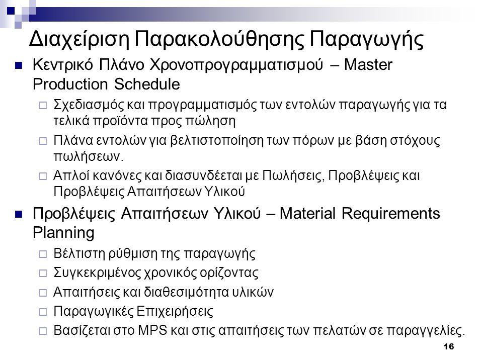 16 Διαχείριση Παρακολούθησης Παραγωγής Κεντρικό Πλάνο Χρονοπρογραμματισμού – Master Production Schedule  Σχεδιασμός και προγραμματισμός των εντολών π