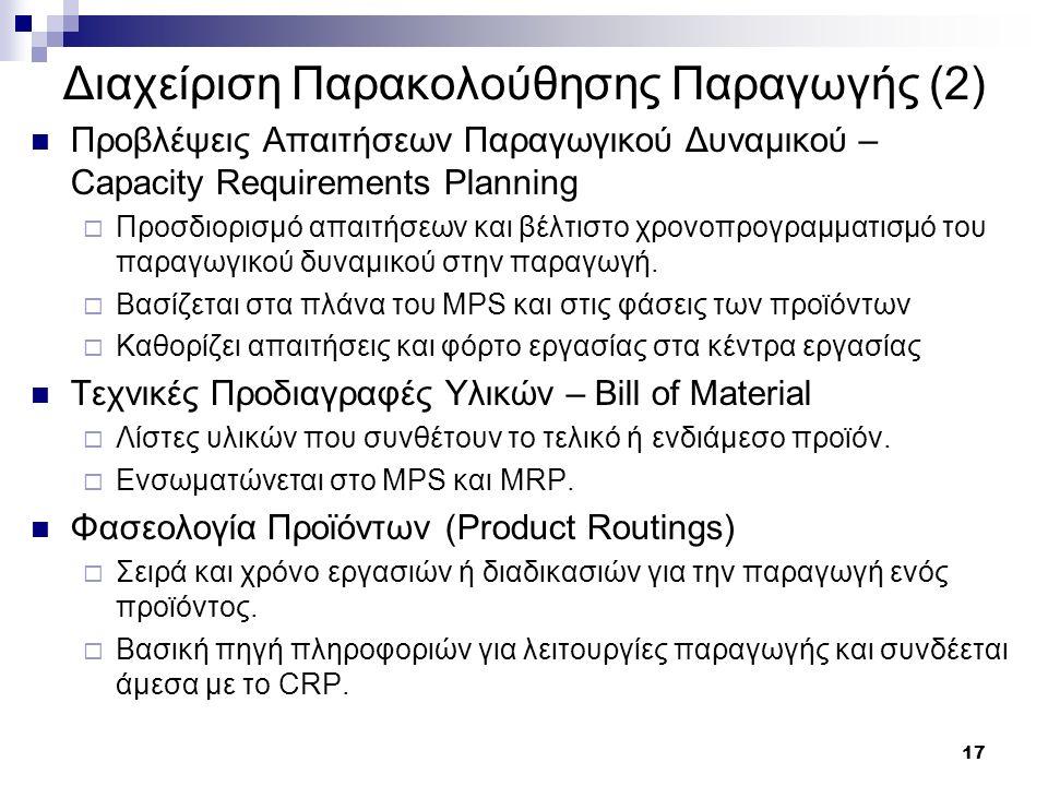 17 Διαχείριση Παρακολούθησης Παραγωγής (2) Προβλέψεις Απαιτήσεων Παραγωγικού Δυναμικού – Capacity Requirements Planning  Προσδιορισμό απαιτήσεων και