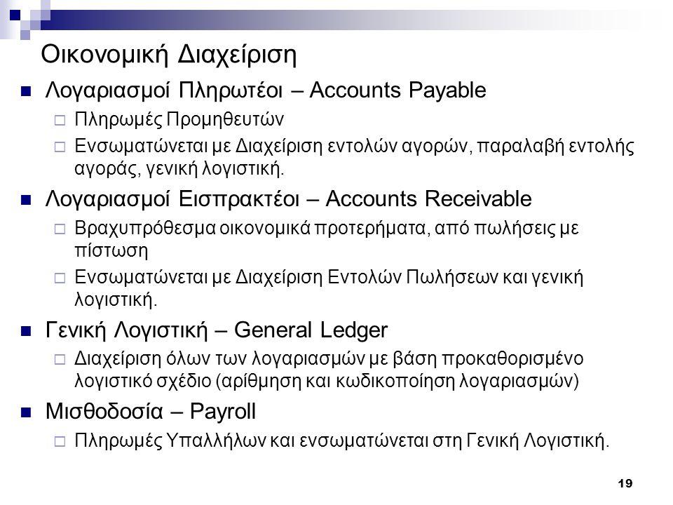 19 Οικονομική Διαχείριση Λογαριασμοί Πληρωτέοι – Accounts Payable  Πληρωμές Προμηθευτών  Ενσωματώνεται με Διαχείριση εντολών αγορών, παραλαβή εντολή