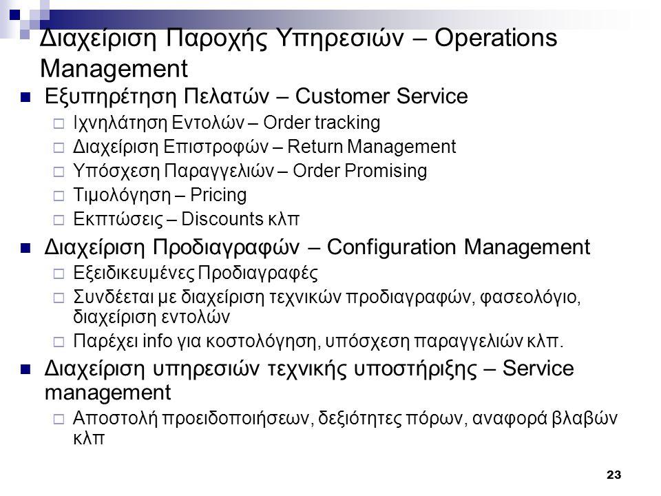 23 Διαχείριση Παροχής Υπηρεσιών – Operations Management Εξυπηρέτηση Πελατών – Customer Service  Ιχνηλάτηση Εντολών – Order tracking  Διαχείριση Επισ