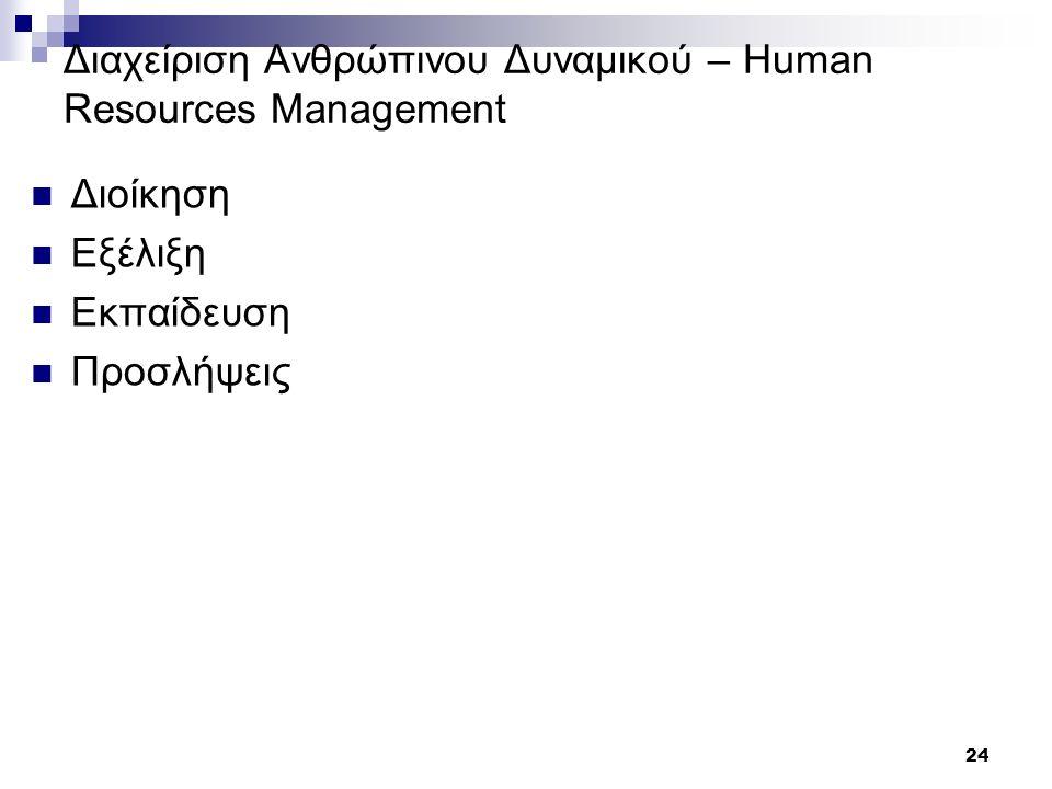 24 Διαχείριση Ανθρώπινου Δυναμικού – Human Resources Management Διοίκηση Εξέλιξη Εκπαίδευση Προσλήψεις