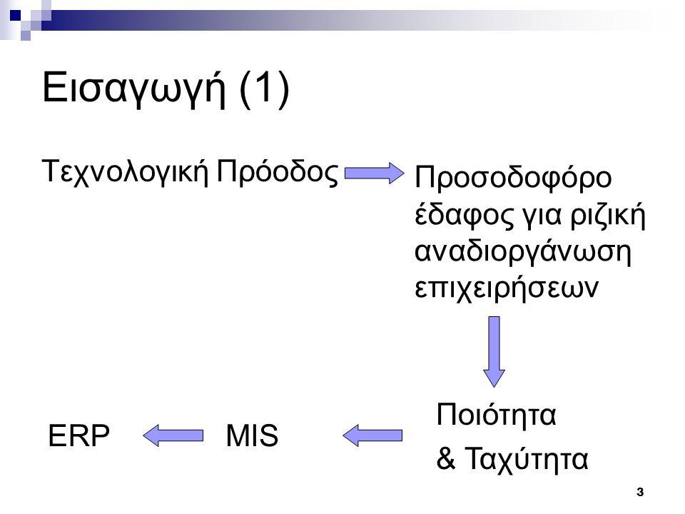 14 Βασικές Λειτουργικές Περιοχές ERP Κύρια Χαρακτηριστικά ενός ERP: Εύκολη Προσαρμογή στις απαιτήσεις της επιχείρησης Έγκυρη και έγκαιρη πληροφόρηση για τα διάφορα τμήματα όπως:  Παραγωγή  Πωλήσεις  Παρακολούθηση Έργων  Αποθέματα  Προμήθειες  Διανομή και Μεταφορές Παραμετροποίηση – Διασύνδεση με άλλες εταιρείες που εφαρμόζουν το ίδιο ΠΣ Δυνατότητες Διαχείρισης Ανθρώπινων Πόρων Περιορίζουν τα κάτωθι προβλήματα:  Έλλειψη πρώτων υλών  Αύξηση Παραγωγικότητας και έλεγχος Ποιότητας  Εξυπηρέτηση Πελατών και έγκαιρη παράδοση προϊόντων  Διαχείριση Κεφαλαίων Φιλοσοφία – Just In Time