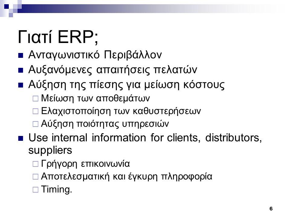 6 Γιατί ERP; Ανταγωνιστικό Περιβάλλον Αυξανόμενες απαιτήσεις πελατών Αύξηση της πίεσης για μείωση κόστους  Μείωση των αποθεμάτων  Ελαχιστοποίηση των