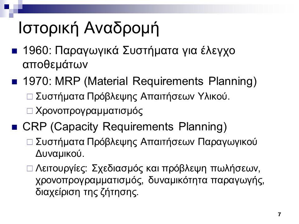 8 Ιστορική Αναδρομή (2) 1980 – MRP II: Manufacturing Resource Planning – Ολοκληρωμένα ΠΣ  Συστήματα Διαχείρισης Παραγωγής και Υλικών με Λογιστική και Χρηματοοικονομική Διαχείριση.