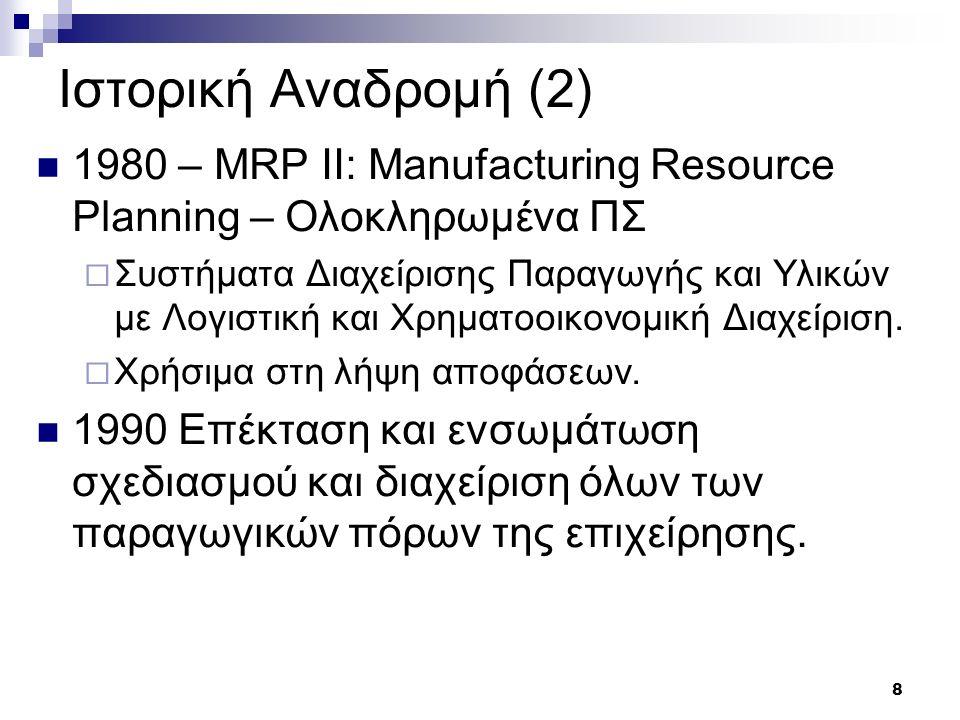 8 Ιστορική Αναδρομή (2) 1980 – MRP II: Manufacturing Resource Planning – Ολοκληρωμένα ΠΣ  Συστήματα Διαχείρισης Παραγωγής και Υλικών με Λογιστική και