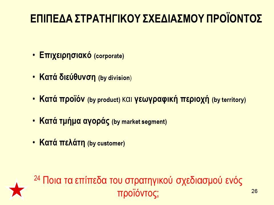 26 Επιχειρησιακό (corporate) Κατά διεύθυνση (by division ) Κατά προϊόν (by product) και γεωγραφική περιοχή (by territory) Κατά τμήμα αγοράς (by market