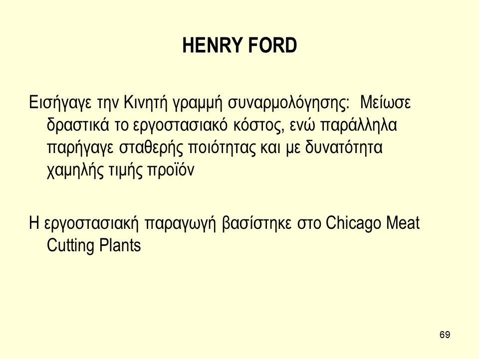 69 HENRY FORD Εισήγαγε την Κινητή γραμμή συναρμολόγησης: Μείωσε δραστικά το εργοστασιακό κόστος, ενώ παράλληλα παρήγαγε σταθερής ποιότητας και με δυνα