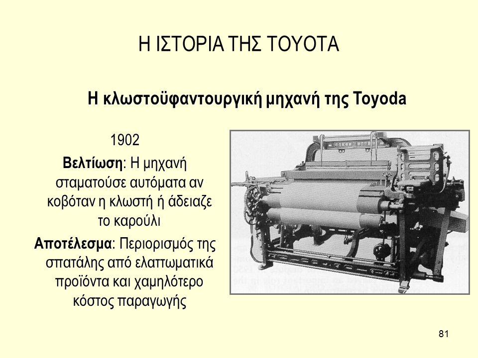 81 Η ΙΣΤΟΡΙΑ ΤΗΣ TOYOTA 1902 Βελτίωση : Η μηχανή σταματούσε αυτόματα αν κοβόταν η κλωστή ή άδειαζε το καρούλι Αποτέλεσμα : Περιορισμός της σπατάλης απ