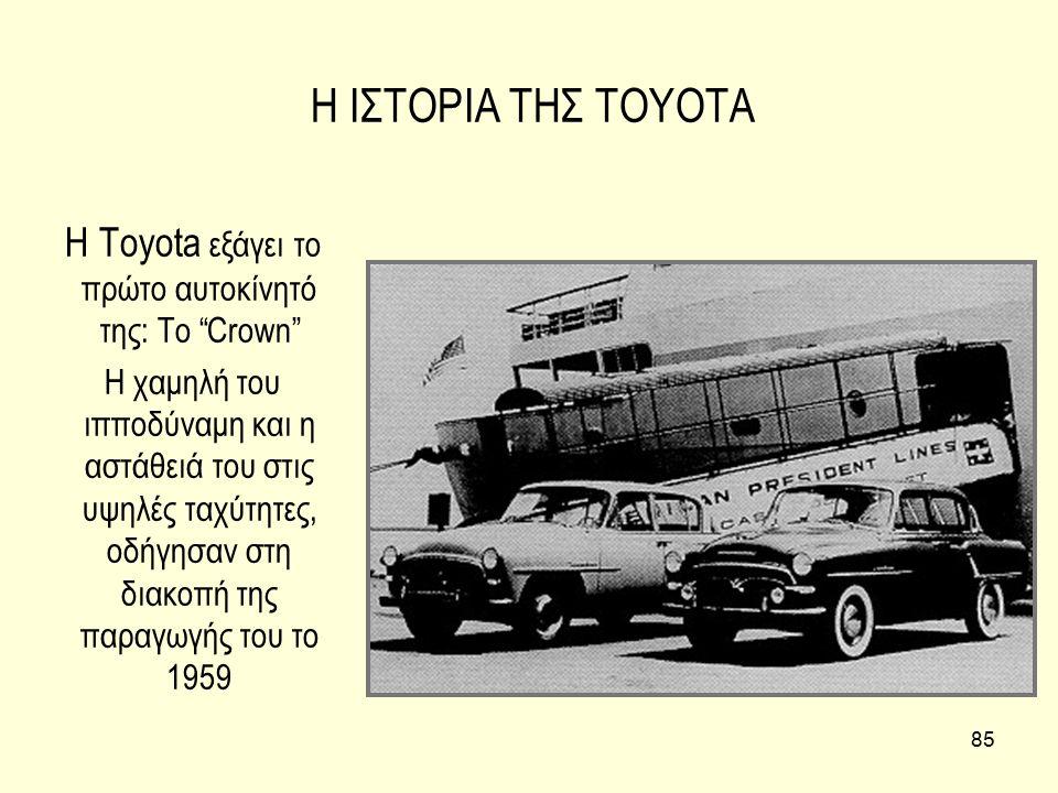 """85 Η ΙΣΤΟΡΙΑ ΤΗΣ TOYOTA Η Toyota εξάγει το πρώτο αυτοκίνητό της: Το """"Crown"""" H χαμηλή του ιπποδύναμη και η αστάθειά του στις υψηλές ταχύτητες, οδήγησαν"""
