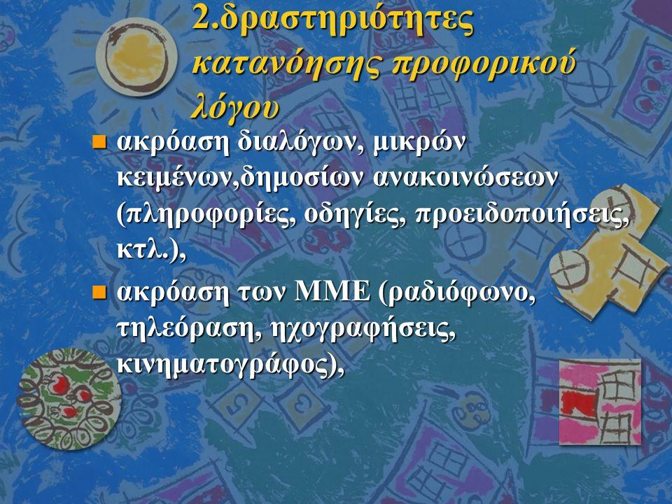 2.δραστηριότητες κατανόησης προφορικού λόγου n ακρόαση διαλόγων, μικρών κειμένων,δημοσίων ανακοινώσεων (πληροφορίες, οδηγίες, προειδοποιήσεις, κτλ.), n ακρόαση των ΜΜΕ (ραδιόφωνο, τηλεόραση, ηχογραφήσεις, κινηματογράφος),