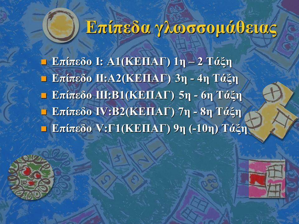 Επίπεδα γλωσσομάθειας n Eπίπεδο I: Α1(ΚΕΠΑΓ) 1η – 2 Tάξη n Eπίπεδο II:Α2(ΚΕΠΑΓ) 3η - 4η Tάξη n Eπίπεδο III:Β1(ΚΕΠΑΓ) 5η - 6η Tάξη n Eπίπεδο IV:Β2(ΚΕΠΑΓ) 7η - 8η Tάξη n Eπίπεδο V:Γ1(ΚΕΠΑΓ) 9η (-10η) Tάξη