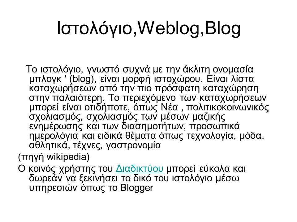 Ιστολόγιο,Weblog,Blog To ιστολόγιο, γνωστό συχνά με την άκλιτη ονομασία μπλογκ (blog), είναι μορφή ιστοχώρου.