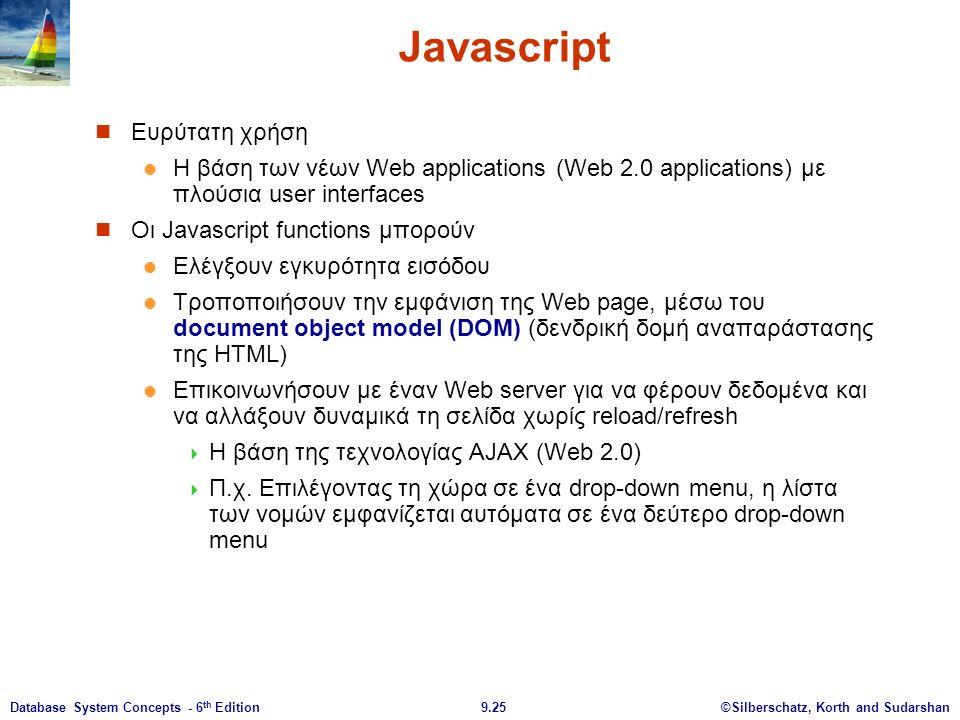 ©Silberschatz, Korth and Sudarshan9.25Database System Concepts - 6 th Edition Javascript Ευρύτατη χρήση Η βάση των νέων Web applications (Web 2.0 applications) με πλούσια user interfaces Οι Javascript functions μπορούν Ελέγξουν εγκυρότητα εισόδου Τροποποιήσουν την εμφάνιση της Web page, μέσω του document object model (DOM) (δενδρική δομή αναπαράστασης της HTML) Επικοινωνήσουν με έναν Web server για να φέρουν δεδομένα και να αλλάξουν δυναμικά τη σελίδα χωρίς reload/refresh  Η βάση της τεχνολογίας AJAX (Web 2.0)  Π.χ.