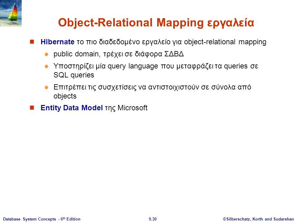 ©Silberschatz, Korth and Sudarshan9.30Database System Concepts - 6 th Edition Object-Relational Mapping εργαλεία Hibernate το πιο διαδεδομένο εργαλείο για οbject-relational mapping public domain, τρέχει σε διάφορα ΣΔΒΔ Υποστηρίζει μία query language που μεταφράζει τα queries σε SQL queries Επιτρέπει τις συσχετίσεις να αντιστοιχιστούν σε σύνολα από objects Entity Data Model της Microsoft