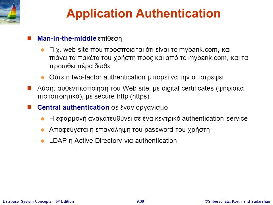 ©Silberschatz, Korth and Sudarshan9.38Database System Concepts - 6 th Edition Application Authentication Man-in-the-middle επίθεση Π.χ.