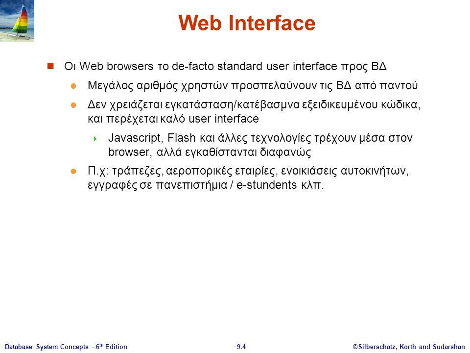 ©Silberschatz, Korth and Sudarshan9.4Database System Concepts - 6 th Edition Web Interface Οι Web browsers το de-facto standard user interface προς ΒΔ Μεγάλος αριθμός χρηστών προσπελαύνουν τις ΒΔ από παντού Δεν χρειάζεται εγκατάσταση/κατέβασμνα εξειδικευμένου κώδικα, και περέχεται καλό user interface  Javascript, Flash και άλλες τεχνολογίες τρέχουν μέσα στον browser, αλλά εγκαθίστανται διαφανώς Π.χ: τράπεζες, αεροπορικές εταιρίες, ενοικιάσεις αυτοκινήτων, εγγραφές σε πανεπιστήμια / e-stundents κλπ.