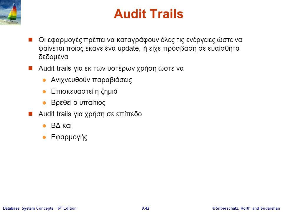 ©Silberschatz, Korth and Sudarshan9.42Database System Concepts - 6 th Edition Audit Trails Οι εφαρμογές πρέπει να καταγράφουν όλες τις ενέργειες ώστε να φαίνεται ποιος έκανε ένα update, ή είχε πρόσβαση σε ευαίσθητα δεδομένα Audit trails για εκ των υστέρων χρήση ώστε να Ανιχνευθούν παραβιάσεις Επισκευαστεί η ζημιά Βρεθεί ο υπαίτιος Audit trails για χρήση σε επίπεδο ΒΔ και Εφαρμογής