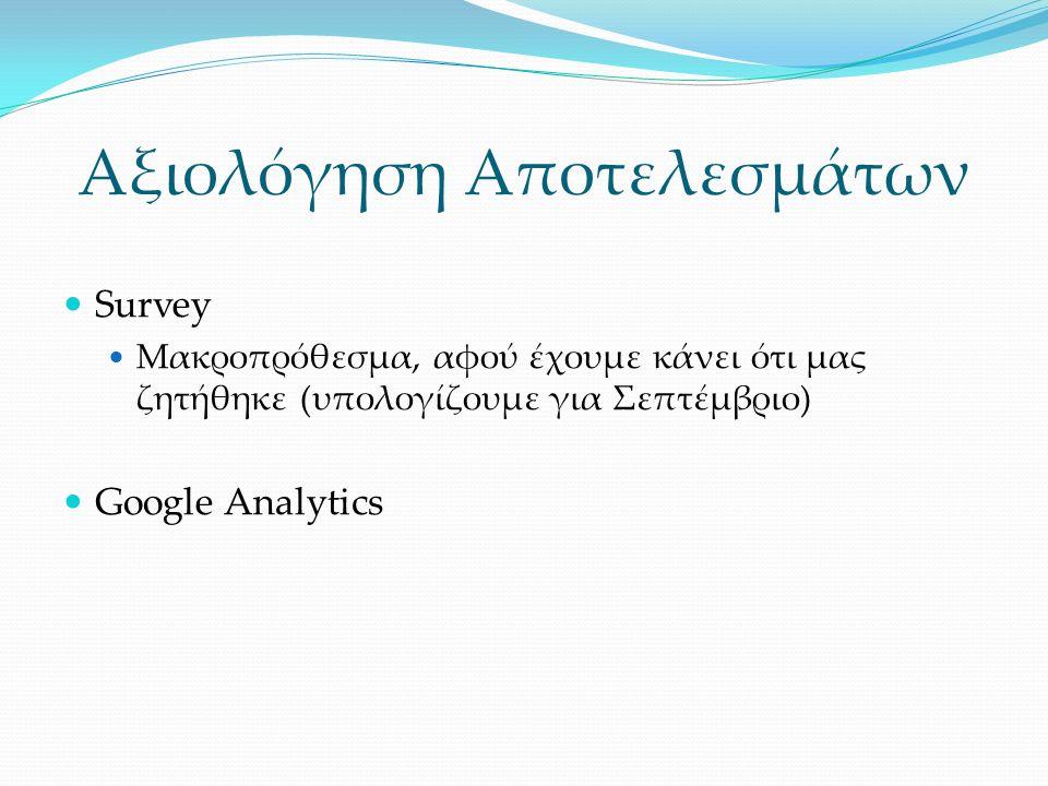Αξιολόγηση Αποτελεσμάτων Survey Μακροπρόθεσμα, αφού έχουμε κάνει ότι μας ζητήθηκε (υπολογίζουμε για Σεπτέμβριο) Google Analytics