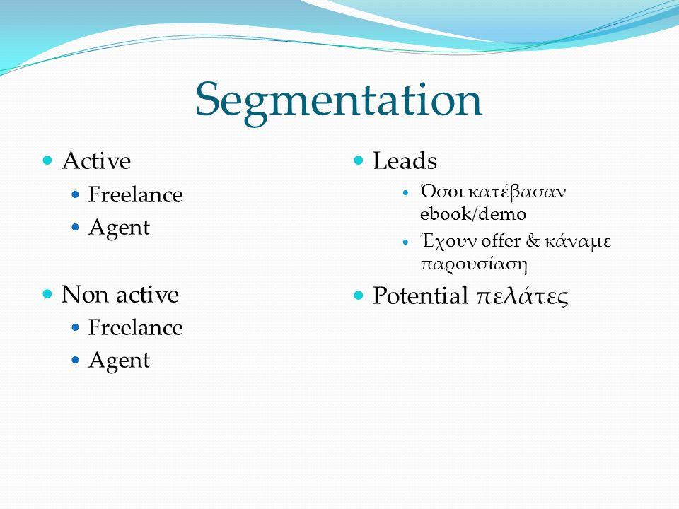 Segmentation Active Freelance Agent Non active Freelance Agent Leads Όσοι κατέβασαν ebook/demo Έχουν offer & κάναμε παρουσίαση Potential πελάτες