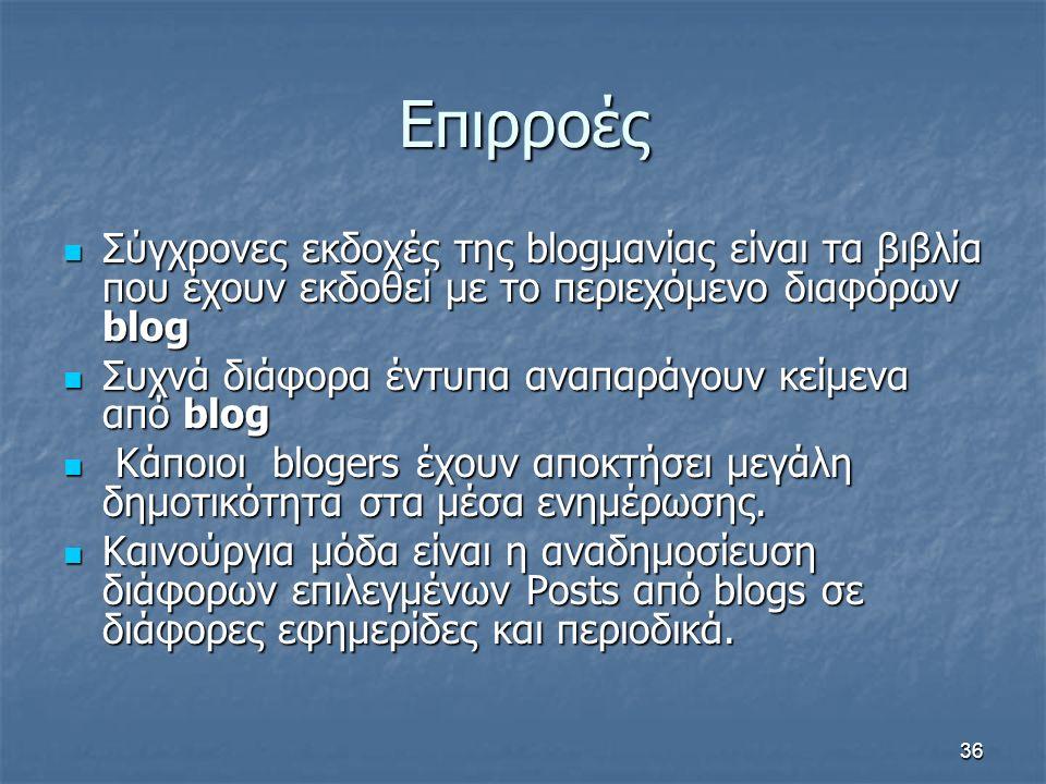 Επιρροές Σύγχρονες εκδοχές της blogμανίας είναι τα βιβλία που έχουν εκδοθεί με το περιεχόμενο διαφόρων blog Σύγχρονες εκδοχές της blogμανίας είναι τα βιβλία που έχουν εκδοθεί με το περιεχόμενο διαφόρων blog Συχνά διάφορα έντυπα αναπαράγουν κείμενα από blog Συχνά διάφορα έντυπα αναπαράγουν κείμενα από blog Κάποιοι blogers έχουν αποκτήσει μεγάλη δημοτικότητα στα μέσα ενημέρωσης.