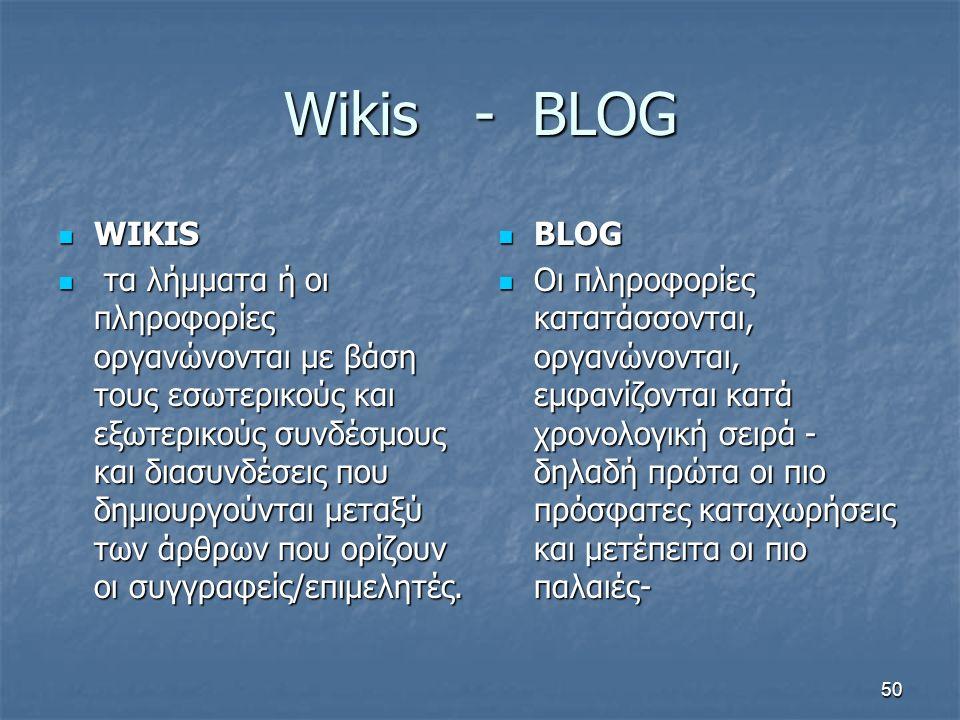 Wikis - BLOG WIKIS WIKIS τα λήμματα ή οι πληροφορίες οργανώνονται με βάση τους εσωτερικούς και εξωτερικούς συνδέσμους και διασυνδέσεις που δημιουργούνται μεταξύ των άρθρων που ορίζουν οι συγγραφείς/επιμελητές.