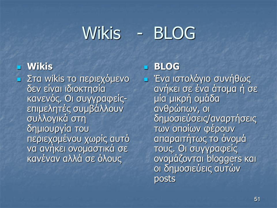 Wikis - BLOG Wikis Wikis Στα wikis το περιεχόμενο δεν είναι ιδιοκτησία κανενός. Οι συγγραφείς- επιμελητές συμβάλλουν συλλογικά στη δημιουργία του περι