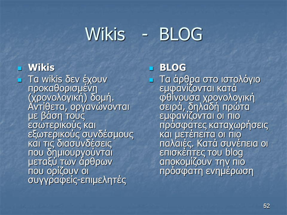 Wikis - BLOG Wikis Wikis Τα wikis δεν έχουν προκαθορισμένη (χρονολογική) δομή. Αντίθετα, οργανώνονται με βάση τους εσωτερικούς και εξωτερικούς συνδέσμ
