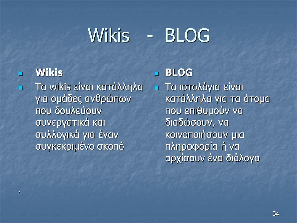 Wikis - BLOG Wikis Wikis Τα wikis είναι κατάλληλα για ομάδες ανθρώπων που δουλεύουν συνεργατικά και συλλογικά για έναν συγκεκριμένο σκοπό Τα wikis είν