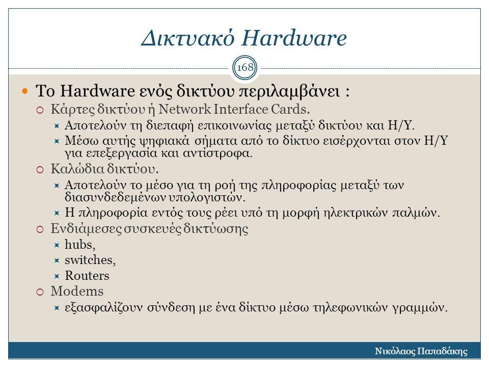Δικτυακό Hardware Το Hardware ενός δικτύου περιλαμβάνει :  Κάρτες δικτύου ή Νetwork Interface Cards.  Αποτελούν τη διεπαφή επικοινωνίας μεταξύ δικτύ