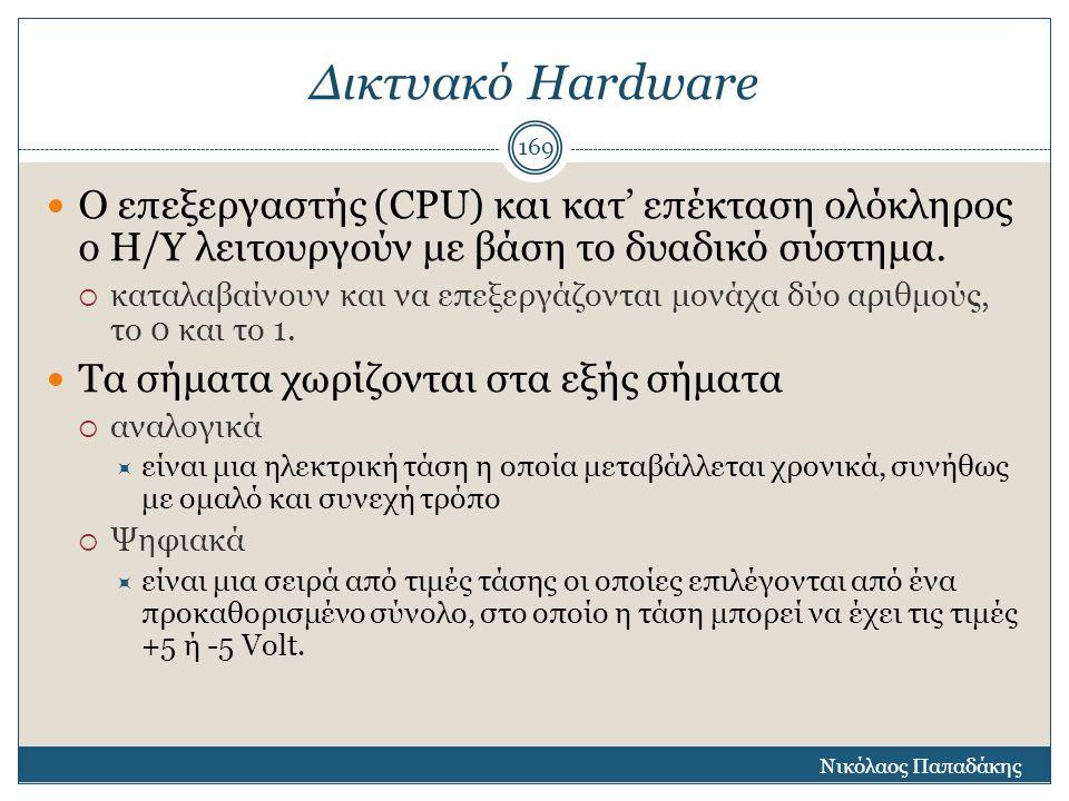 Δικτυακό Hardware Ο επεξεργαστής (CPU) και κατ' επέκταση ολόκληρος ο Η/Υ λειτουργούν με βάση το δυαδικό σύστημα.  καταλαβαίνουν και να επεξεργάζονται