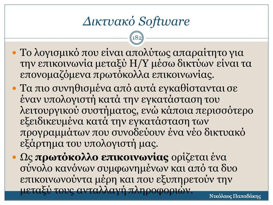 Δικτυακό Software Το λογισμικό που είναι απολύτως απαραίτητο για την επικοινωνία μεταξύ Η/Υ μέσω δικτύων είναι τα επονομαζόμενα πρωτόκολλα επικοινωνία