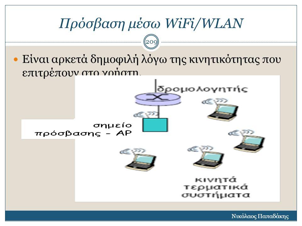 Πρόσβαση μέσω WiFi/WLAN Είναι αρκετά δημοφιλή λόγω της κινητικότητας που επιτρέπουν στο χρήστη. Νικόλαος Παπαδάκης 209
