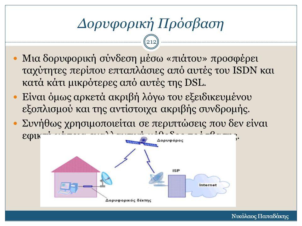 Δορυφορική Πρόσβαση Μια δορυφορική σύνδεση μέσω «πιάτου» προσφέρει ταχύτητες περίπου επταπλάσιες από αυτές του ISDN και κατά κάτι μικρότερες από αυτές