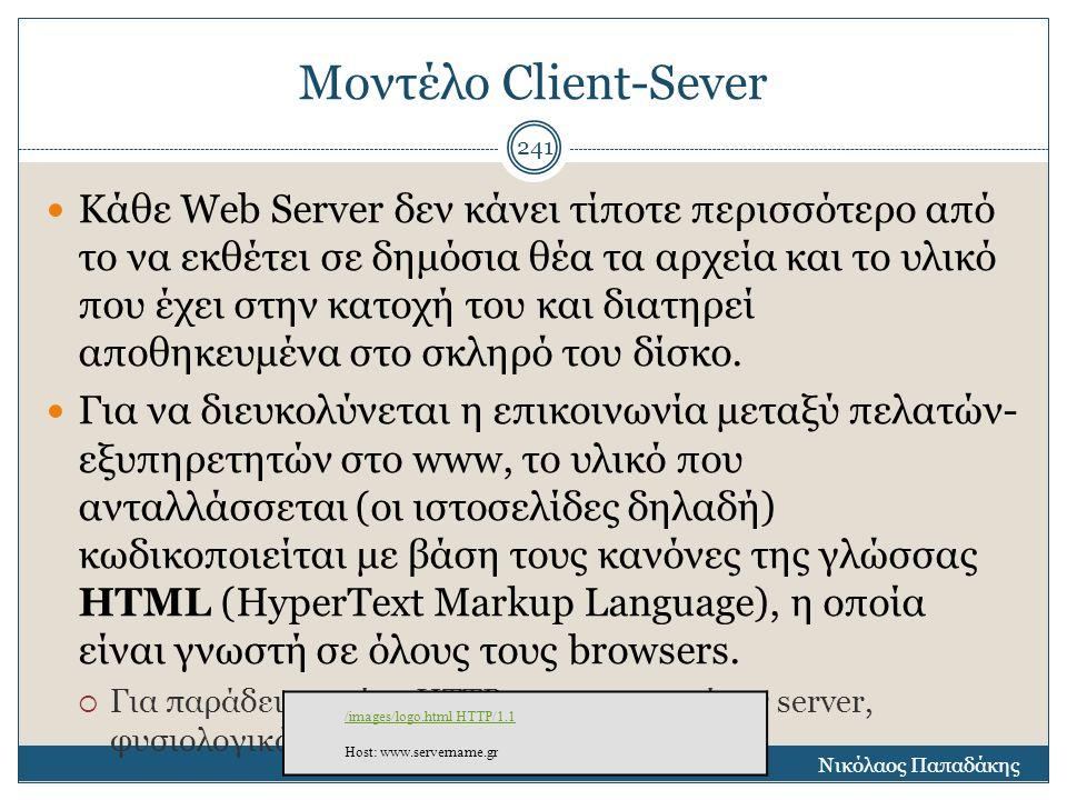 Μοντέλο Client-Sever Κάθε Web Server δεν κάνει τίποτε περισσότερο από το να εκθέτει σε δημόσια θέα τα αρχεία και το υλικό που έχει στην κατοχή του και