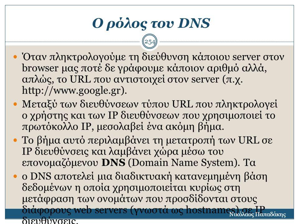 Ο ρόλος του DNS Όταν πληκτρολογούμε τη διεύθυνση κάποιου server στον browser μας ποτέ δε γράφουμε κάποιον αριθμό αλλά, απλώς, το URL που αντιστοιχεί σ