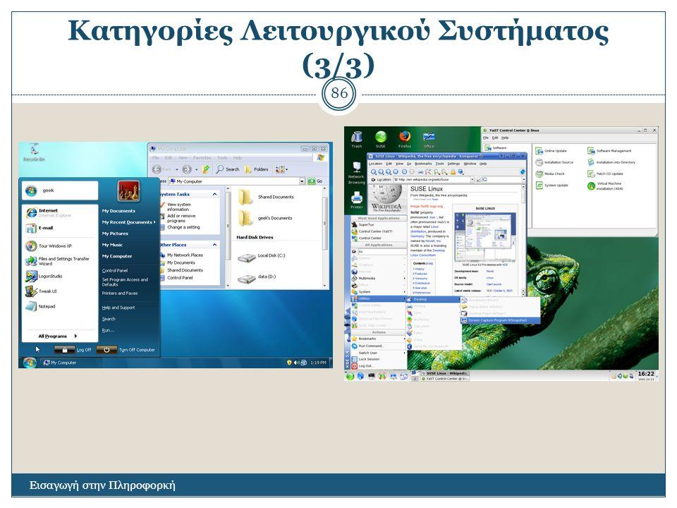 Κατηγορίες Λειτουργικού Συστήματος (3/3) Εισαγωγή στην Πληροφορκή 86