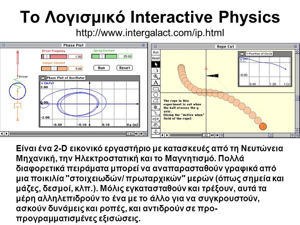 Το Λογισμικό Interactive Physics http://www.intergalact.com/ip.html Είναι ένα 2-D εικονικό εργαστήριο με κατασκευές από τη Νευτώνεια Μηχανική, την Ηλεκτροστατική και το Μαγνητισμό.