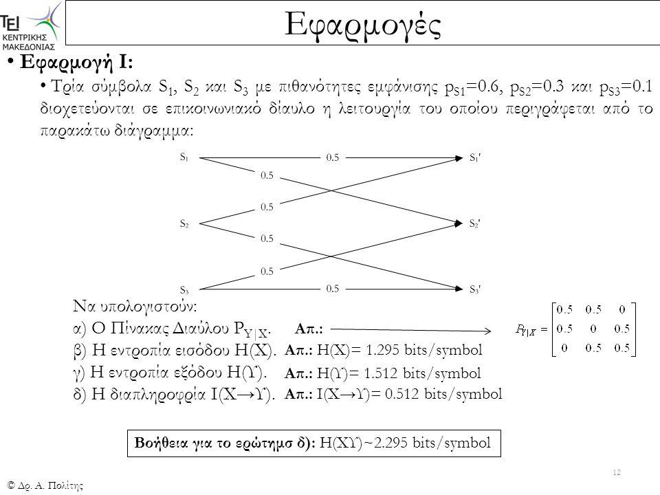 Εφαρμογές © Δρ. Α. Πολίτης 12 Εφαρμογή Ι: Τρία σύμβολα S 1, S 2 και S 3 με πιθανότητες εμφάνισης p S1 =0.6, p S2 =0.3 και p S3 =0.1 διοχετεύονται σε ε