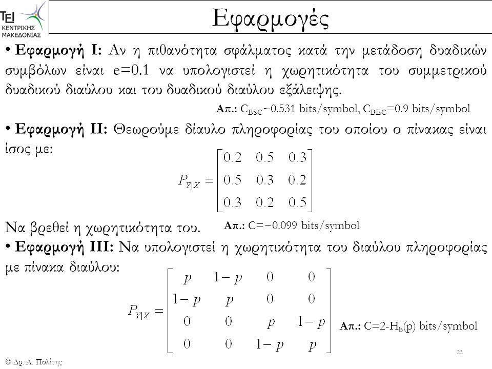 Εφαρμογές © Δρ. Α. Πολίτης 23 Εφαρμογή Ι: Αν η πιθανότητα σφάλματος κατά την μετάδοση δυαδικών συμβόλων είναι e=0.1 να υπολογιστεί η χωρητικότητα του