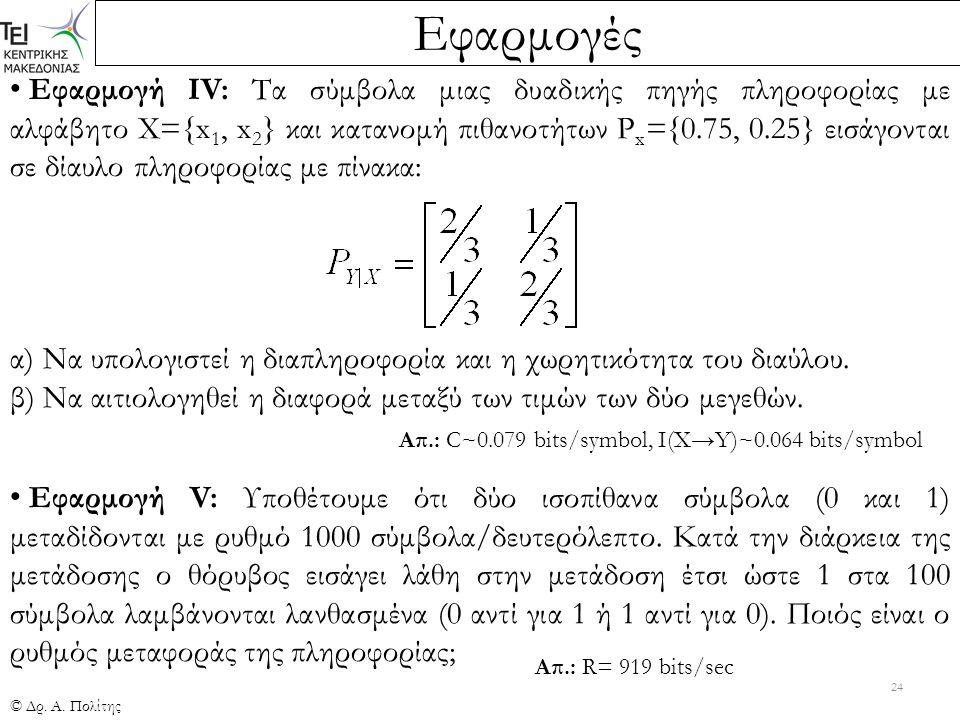 Εφαρμογές © Δρ. Α. Πολίτης 24 Εφαρμογή ΙV: Τα σύμβολα μιας δυαδικής πηγής πληροφορίας με αλφάβητο Χ={x 1, x 2 } και κατανομή πιθανοτήτων P x ={0.75, 0