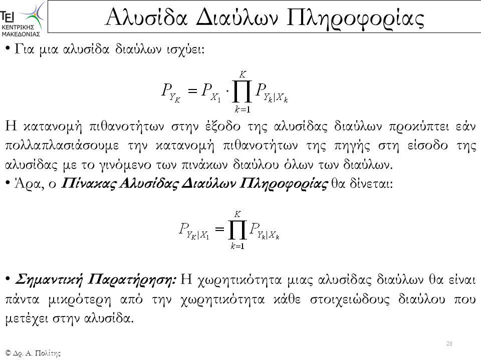 Αλυσίδα Διαύλων Πληροφορίας © Δρ. Α. Πολίτης 26 Για μια αλυσίδα διαύλων ισχύει: Η κατανομή πιθανοτήτων στην έξοδο της αλυσίδας διαύλων προκύπτει εάν π