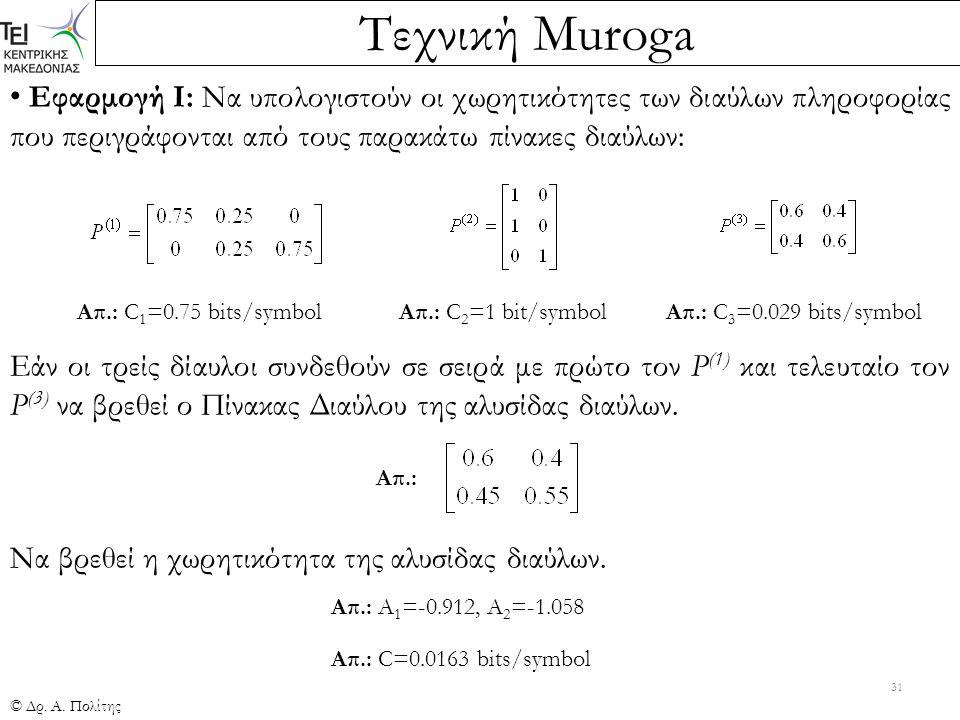 Τεχνική Muroga © Δρ. Α. Πολίτης 31 Εφαρμογή Ι: Να υπολογιστούν οι χωρητικότητες των διαύλων πληροφορίας που περιγράφονται από τους παρακάτω πίνακες δι