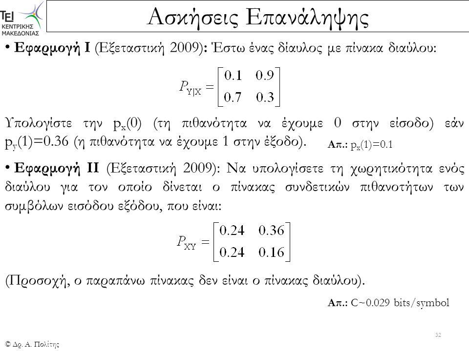 Ασκήσεις Επανάληψης © Δρ. Α. Πολίτης 32 Εφαρμογή Ι (Εξεταστική 2009): Έστω ένας δίαυλος με πίνακα διαύλου: Υπολογίστε την p x (0) (τη πιθανότητα να έχ
