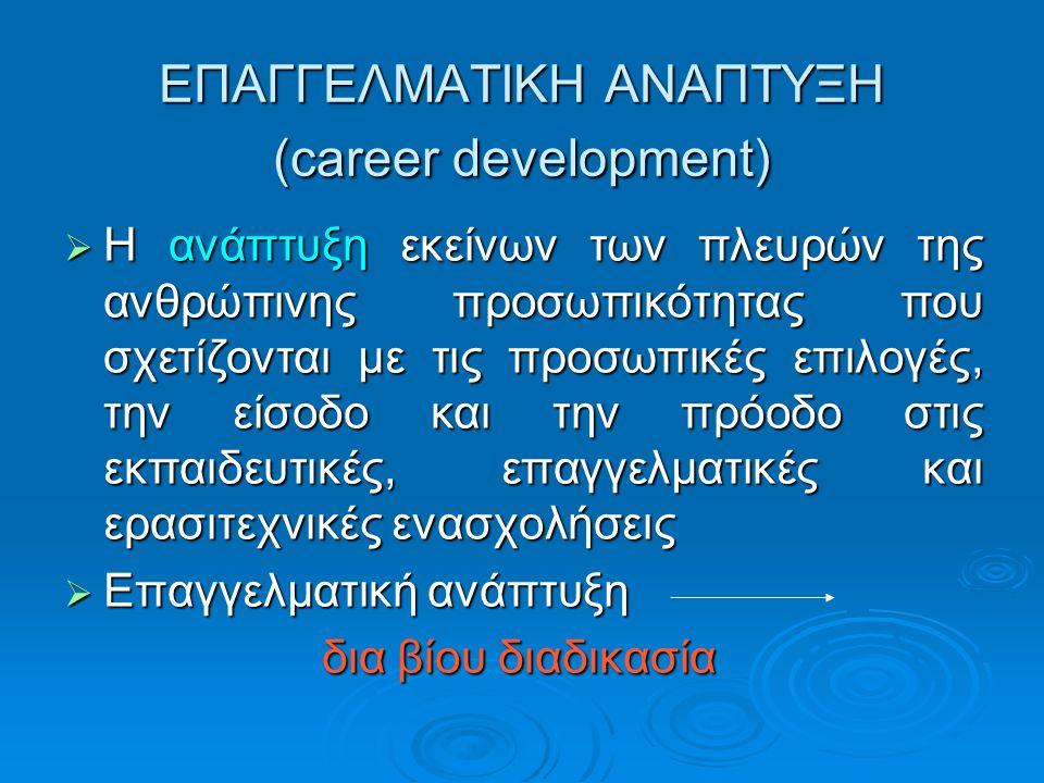 ΕΠΑΓΓΕΛΜΑΤΙΚΗ ΑΝΑΠΤΥΞΗ (career development)  Η ανάπτυξη εκείνων των πλευρών της ανθρώπινης προσωπικότητας που σχετίζονται με τις προσωπικές επιλογές,