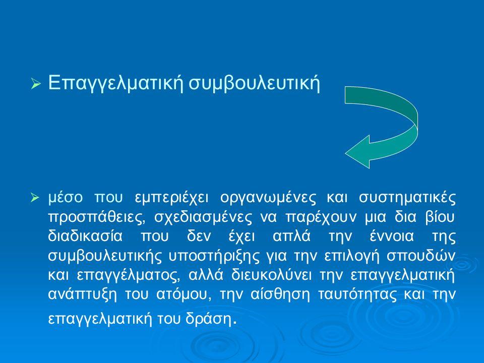   Επαγγελματική συμβουλευτική   μέσο που εμπεριέχει οργανωμένες και συστηματικές προσπάθειες, σχεδιασμένες να παρέχουν μια δια βίου διαδικασία που