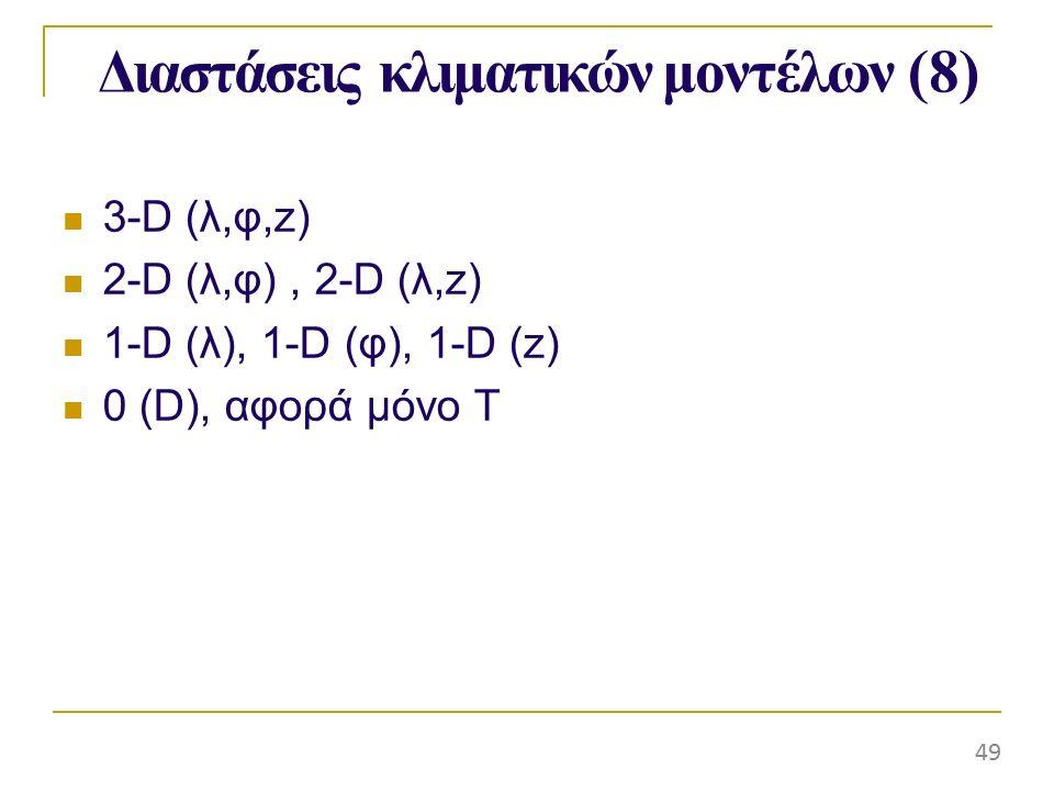 Διαστάσειςκλιματικώνμοντέλων (8) 3-D (λ,φ,z) 2-D (λ,φ), 2-D (λ,z) 1-D (λ), 1-D (φ), 1-D (z) 0 (D), αφορά μόνο Τ 49