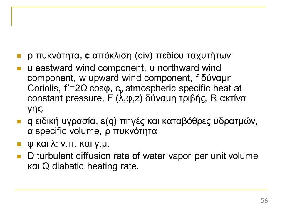 ρ πυκνότητα, c απόκλιση (div) πεδίου ταχυτήτων u eastward wind component, υ northward wind component, w upward wind component, f δύναμη Coriolis, f'=2